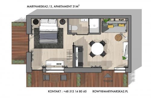 MARYNARSKA 2 /5  rzut poglądowy przedstawiający rozmieszczenie pomieszczeń