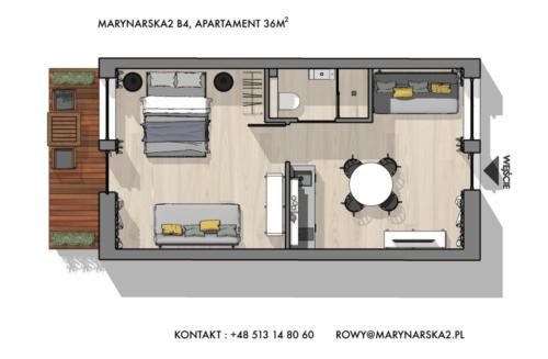MARYNARSKA2 /4 rzut poglądowy przedstawiający rozmieszczenie pomieszczeń